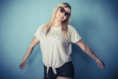 Blonde girl in sunglasses Royalty Free Stock Images