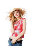 Blonde girl with sunhat. Isolated on white Royalty Free Stock Images