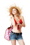 Blonde girl with sunhat and lemonade Stock Photography