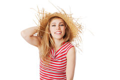 Blonde girl with sunhat smiling into the camera. Isolated on white Stock Images