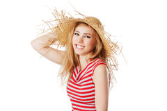 Blonde girl with sunhat smiling into the camera. Isolated on white Royalty Free Stock Images