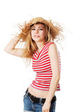 Blonde girl with sunhat smiling Stock Photos
