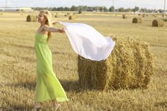 Blonde girl in sunny autumn field Stock Image