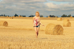 Blonde girl in sunny autumn field Stock Images