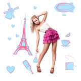 Blonde girl is surrounded by the symbols of Paris Royalty Free Stock Photos