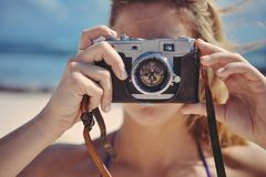Blonde, Girl, Taking, Photo Royalty Free Stock Photos