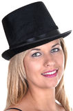 Blonde girl with top-hat Royalty Free Stock Images