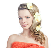 Blonde girl in the towel Royalty Free Stock Image