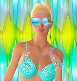 A blonde girl in a turquoise bikini top and sunglasses Royalty Free Stock Images