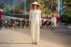 Blonde girl in Vietnamese dress watches goats flock Royalty Free Stock Images