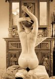 Blonde girl in vintage flat Stock Photo
