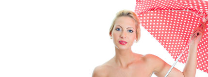 Blonde girl with vintage spotted umbrella Royalty Free Stock Photo