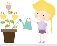 Blonde Girl Watering Flowers. Illustration of a cute blonde girl watering flowers Stock Illustration