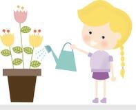 Blonde Girl Watering Flowers Stock Photos