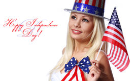 Blonde Girl waving Small American Flag isolated Royalty Free Stock Photos