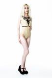 Blonde girl wearing bodysuit Royalty Free Stock Images
