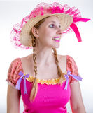 Blonde girl wearing Caipira clothes for the Brazilian Festa Junina Stock Image