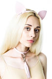 Blonde girl wearing chocker and ears Stock Photos