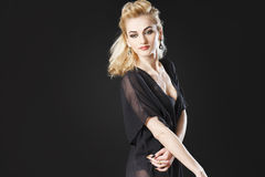 Blonde girl wearing see through top Stock Image