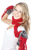 Blonde girl wearing winter clothing on white Stock Image