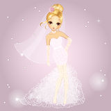 Blonde Girl In Wedding Dress Stock Images
