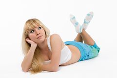 Blonde girl  on white Royalty Free Stock Photos