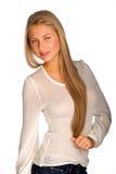 Blonde girl on white background Royalty Free Stock Image