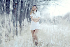 Blonde girl in white dress at winter forest Stock Photo