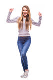 Blonde girl with win emotions on white background Stock Photo