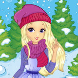 Blonde Girl In Winter Forest. Vector illustration of beautiful blonde girl on the background of the winter forest Stock Photos