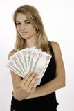 Blonde Girl Won Cash Stock Photo
