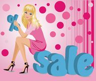 Blonde girl and word SALE in 3D image.  Royalty Free Stock Photography