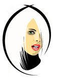 Blonde-Girl2. The beautiful blonde model with a fashionable hairdress stock illustration