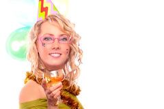 The blonde with the glass of the champagne Stock Photography