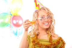 The blonde with the glass of the champagne Royalty Free Stock Photos