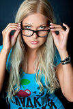 Blonde with glasses Royalty Free Stock Photography