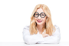 Blonde with glasses in a robe doctor Royalty Free Stock Photo