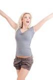 Blonde glimlachende vrouw Stock Foto's