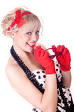 Blonde in gloves Royalty Free Stock Photos