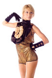 Blonde go-go girl in gold costume isolated Stock Photos