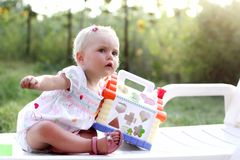 Blonde gorgeous baby girl Royalty Free Stock Photography