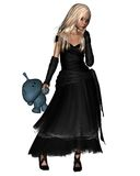 Blonde Goth Girl with Toy Alien. Blonde Goth girl dressed in black holding a knitted toy alien, 3d digitally rendered illustration Stock Image