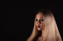A Blonde gothic priestess in the dark. Royalty Free Stock Images