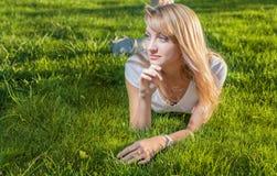 Blonde Grassonne Stockfotos