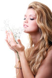 Blonde with gypsophila flowers Royalty Free Stock Photos