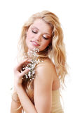 Blonde with gypsophila flowers Royalty Free Stock Image
