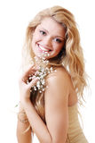 Blonde with gypsophila flowers Stock Photo