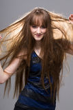 Schöne Frau mit dem geraden langen Haar Lizenzfreies Stockfoto