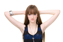 Schöne Frau mit dem geraden langen Haar Stockfotografie