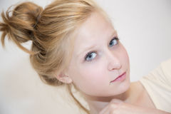 Blonde hair bun Stock Photography